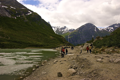 Scenic view around the Briksdalsbreen (aka Briksdal glacier)