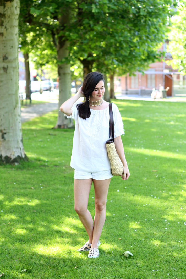 all white outfit leopard slip ons