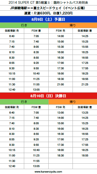 2014SGT第5戦臨時バス時刻表(1)