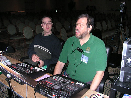 Joel Abbott and Bill Ritch at the tech table.