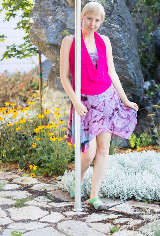 stretchy pink halter-top over purple tie-dye sundress
