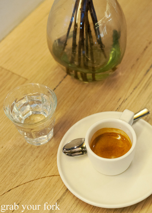 Short black at Dukes Coffee Roasters on Flinders Lane, Melbourne