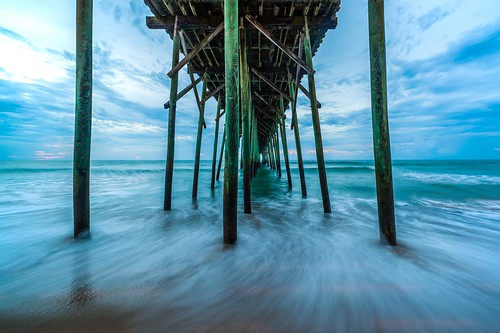 ocean longexposure blue green beach water clouds sunrise canon pier waves northcarolina atlanticocean 14mm canon5dmarkii
