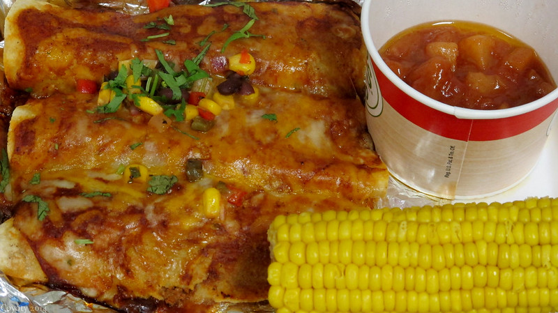 Beef enchiladas with corn on the cob and caramel apples