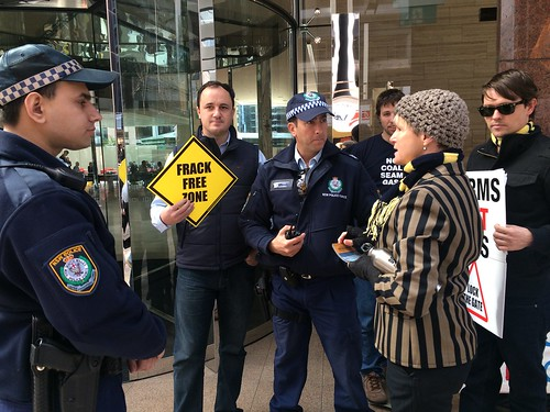 Police at AGL protest