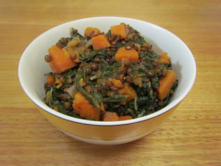 French Lentils with Sweet Potatoes and Chard