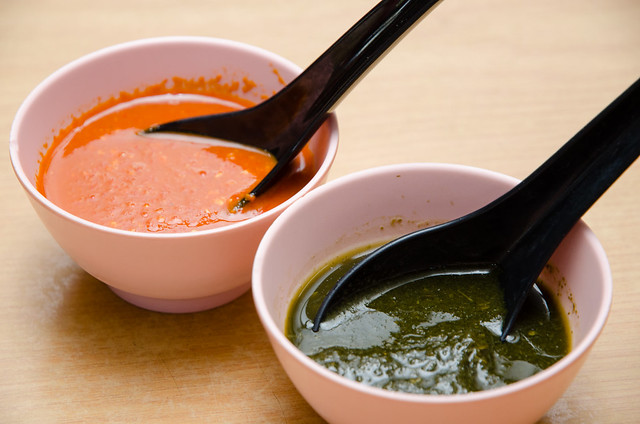 Hing Ket Grill House's chili sauce and mint sauce