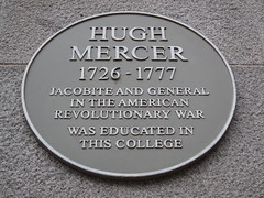 Photo of Hugh Mercer yellow plaque