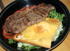 Grilled Rump Steak with Potato & Cheese Pie