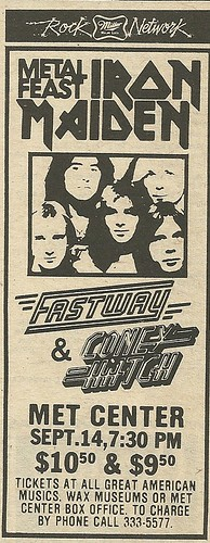 09/14/83 Iron Maiden/ Fastway/ Coney Hatch @ Met Center, Bloomington, MN (Ad 1)