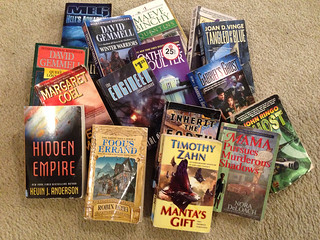Books from the annual used book sale at Sanger Public Library.