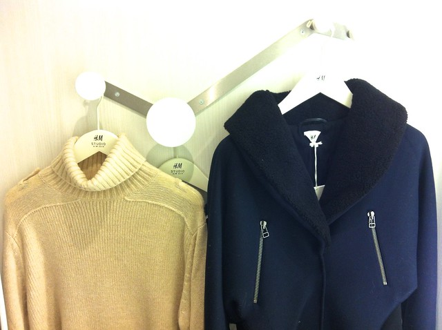 H&M A/W 2014 Studio Collection sweater and jacket hanging up