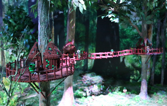 Ewoks live in villages built high among the trees, with wooden bridges connecting the huts