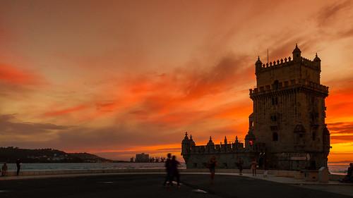 sunset portugal lisbon tejo tagus torredebelem