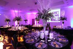 meal(0.0), flower arranging(0.0), flower(0.0), wedding(0.0), party(0.0), ballroom(0.0), wedding reception(1.0), purple(1.0), function hall(1.0), restaurant(1.0), floral design(1.0), centrepiece(1.0), banquet(1.0), floristry(1.0),