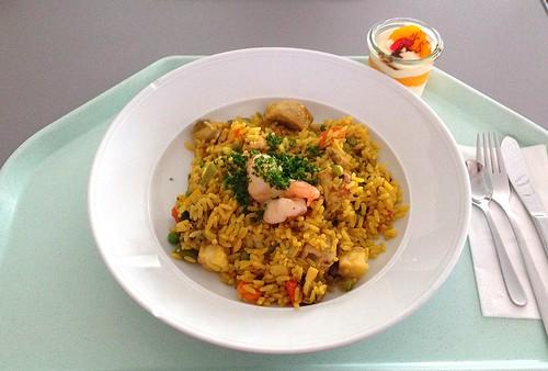 Spanische Paelle mit Meeresfrüchten, Hühnerfleisch & mediterranem Gemüse  / Spanish paella with seafood, chicken & mediterranean vegetables
