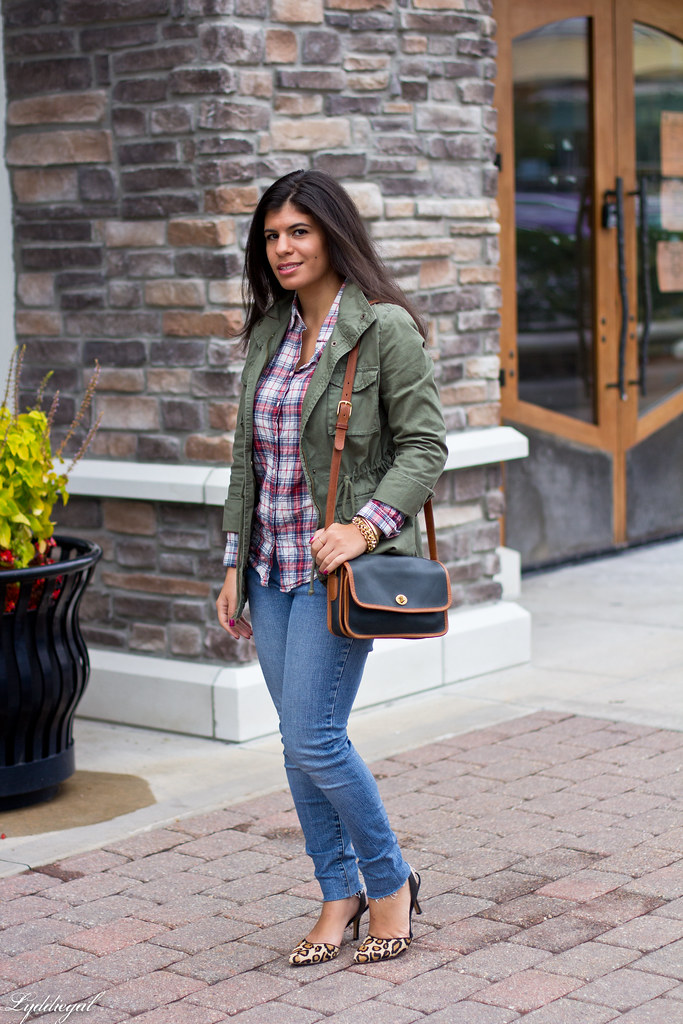 Plaid Shirt, Utility Jacket, Leopard Heels.jpg