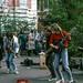 Buskers & dancing tramp, London, 1988