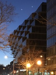 New condos at twilight, West End, L Street NW, Washington, D.C.