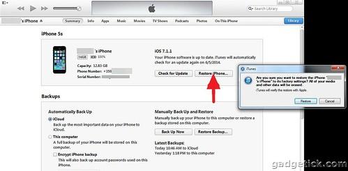 Чистая установка iOS 7
