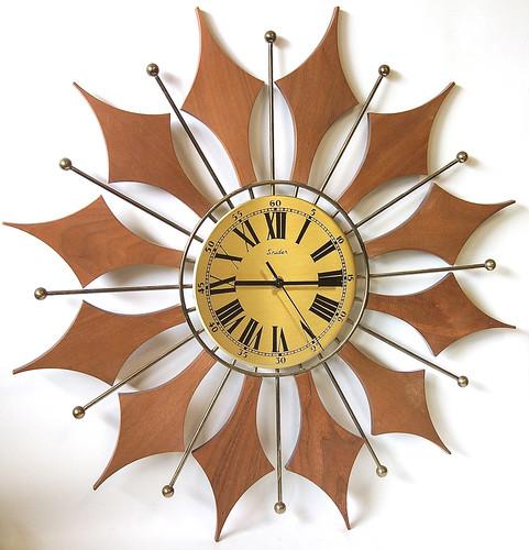 Mid-Century Starburst Teak Clock