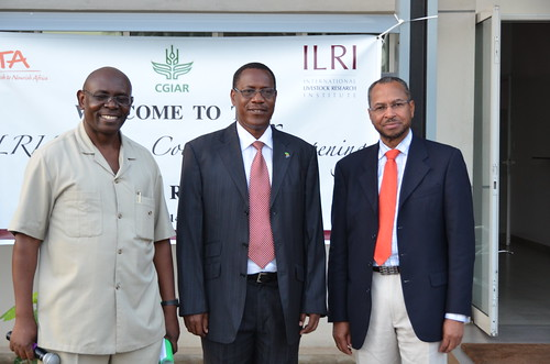 Official opening of the ILRI-Tanzania office: Amos Omore, Hon Titus Mlenga and Jimmy Smith