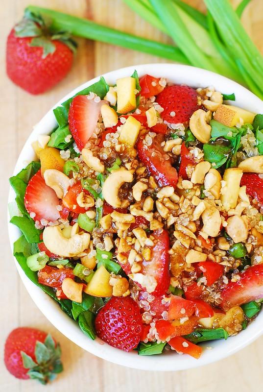 Strawberry, quinoa, spinach, & cashew salad
