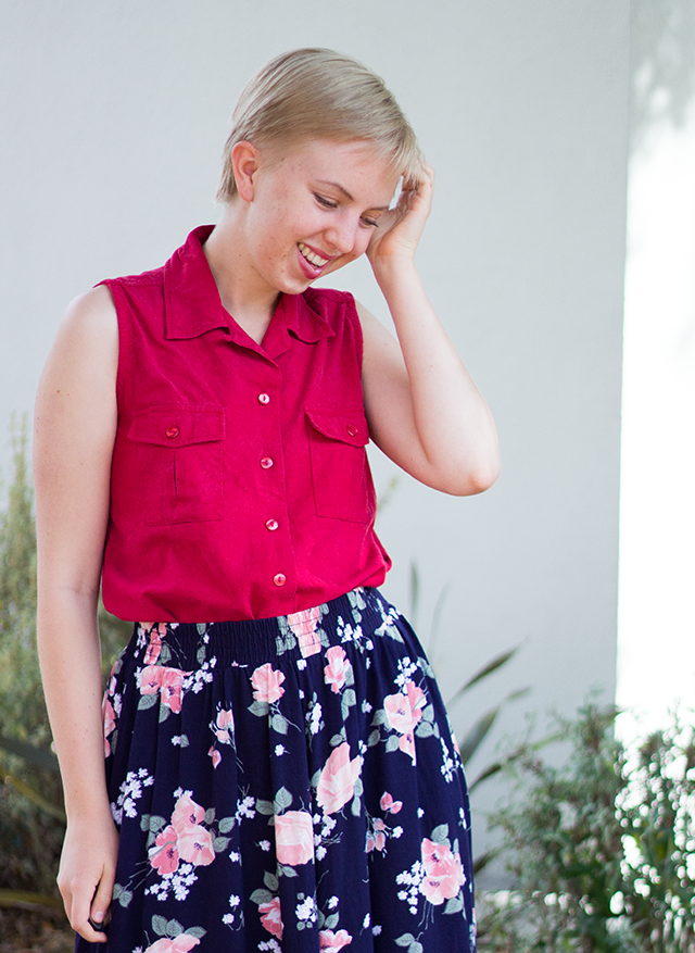 red silk sleeveless button-down blouse, long vintage floral skirt