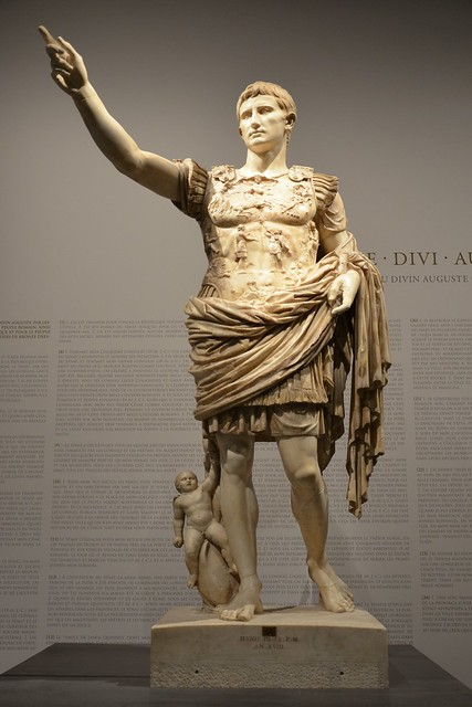 Augustus of Prima Porta, discovered  in the Villa of Livia at Prima Porta, Moi, Auguste, Empereur de Rome exhibition, Grand Palais, Paris