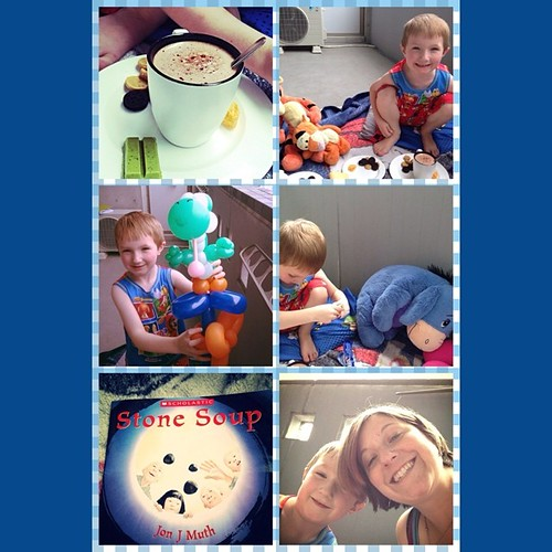 Tea party today on our balcony with Gabe's stuffed animals and a wonderful story. Perfect afternoon :)