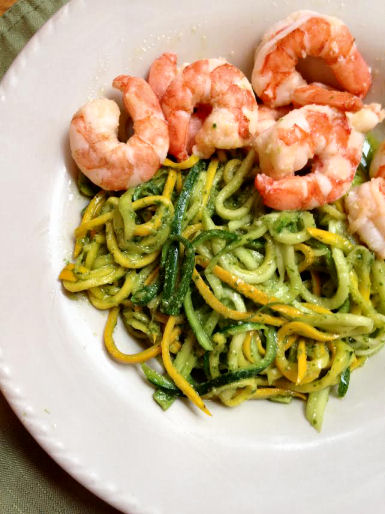 Zucchini noodles with pesto and sauteed shrimp