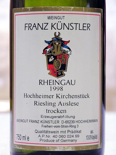 Weingut Franz Kunstler 1998 Hockheimer Kirchenstuck Riesling Auslese Rheingau