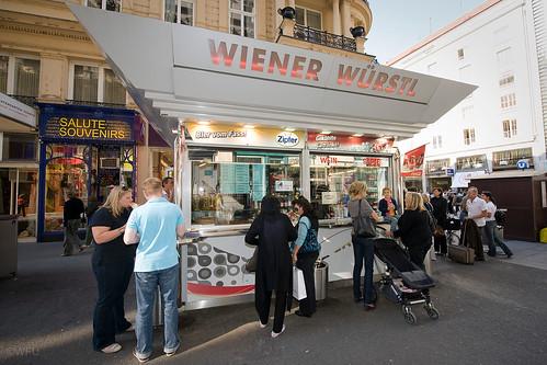 Students enjoy a stop for wiener würstl