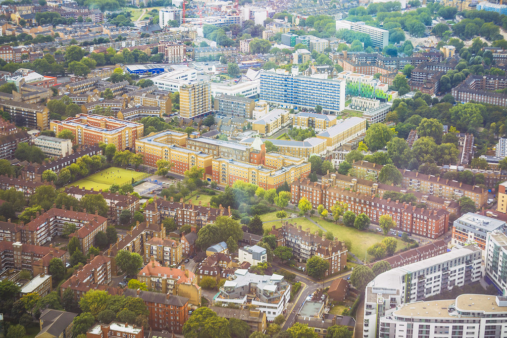 Houses of London from above