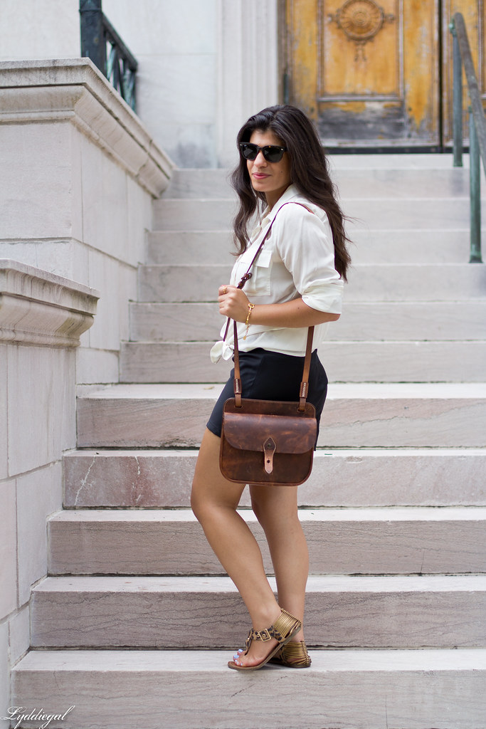 White Silk Blouse, Black Shorts, Leopard Sandals-4.jpg