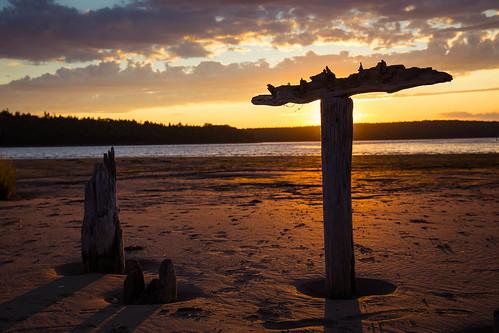 sunset silhouette sand driftwood pylons easternpassage mccormacksbeachprovincialpark