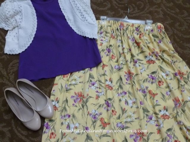 Challis Skirt purple shell nude heels