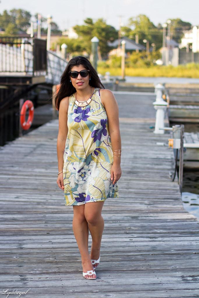 Tropical print dress, straw clutch, white sandals-3.jpg