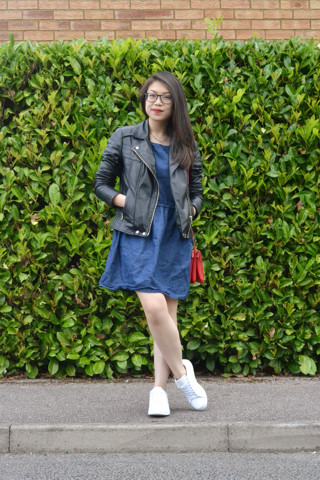 Daisybutter - UK Style and Fashion Blog: what i wore, leather jacket, AW14, Lacoste trainers, Celine Trio red