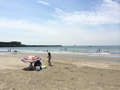 Wakayama Surfing - a very flat day but good for Anya to practice popups and balance.