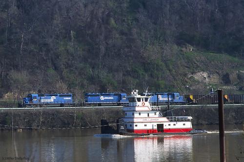 railroad train ns tugboat cr towboat norfolksouthern conrail monongahelariver sd402 537 hoppertrain monriver monvalley emdsd402 unittrain dravosburgpa ns3354 monline emdlocomotive conrailblue conrailheritage westernpennsylvaniarailroads pittsburgharearailroads