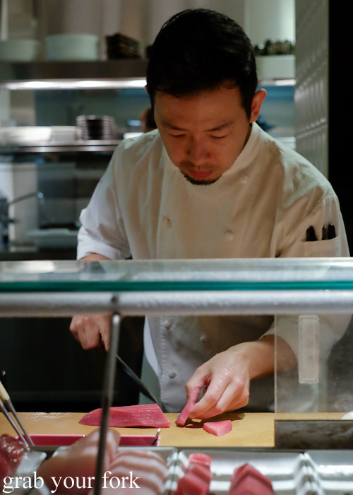 Chef Chase Kojima slicing the chutoro sashimi at Sokyo at The Star, Pyrmont