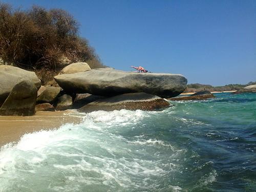 Lina doing more yoga on La Piscina beach, Tayrona