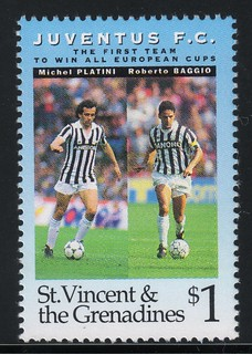 juventus the first team to win all europe cups stamp 6 - st. vincent & the grenadines