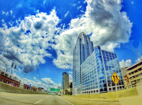 road street city blue light ohio sky urban usa cloud color beautiful clouds america canon lens landscape geotagged photography eos rebel prime spring focus midwest downtown skies angle cincinnati wide pass may streetphotography wideangle fisheye fixed manual roads dslr geotag manualfocus hdr app 2012 queencity hamiltoncounty 500d fixedfocus handyphoto rokinon teamcanon t1i iphoneedit snapseed jamiesmed