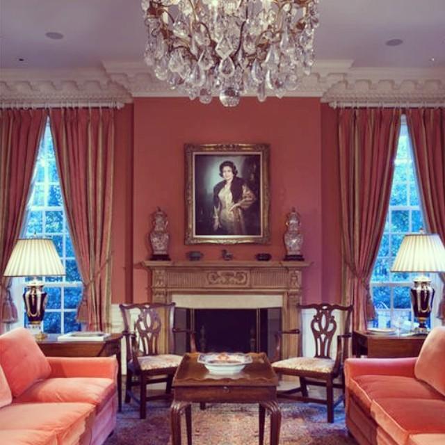 Greek revival lower Mississippi home, pink monochrome design