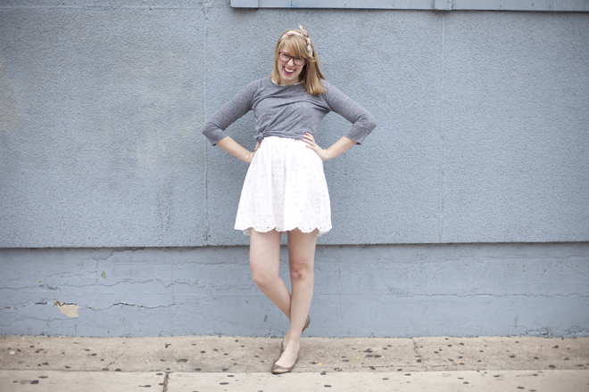 knotted tee over dress