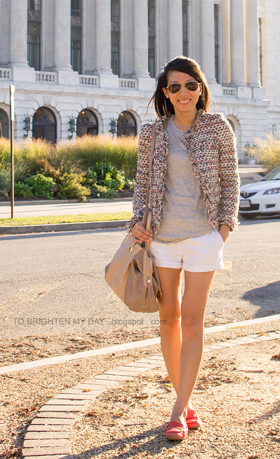 tweed jacket, gray tee, white shorts, red loafers