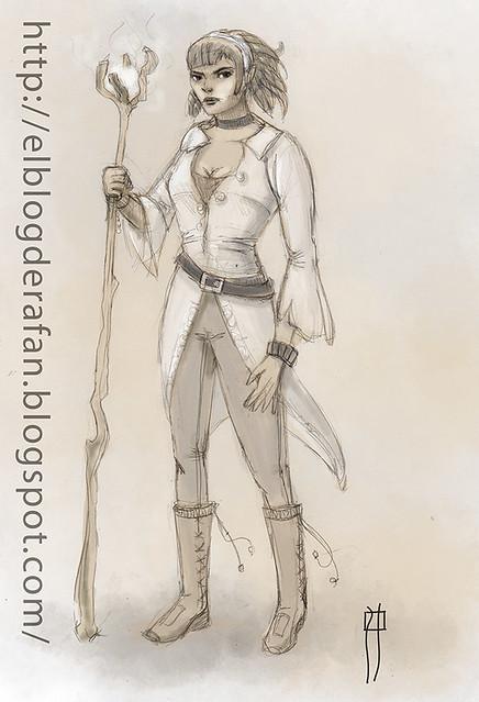mujer con cetro
