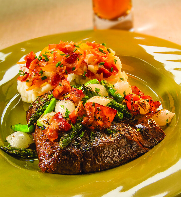 New York Strip with Peppered Bacon & Asparagus Relish